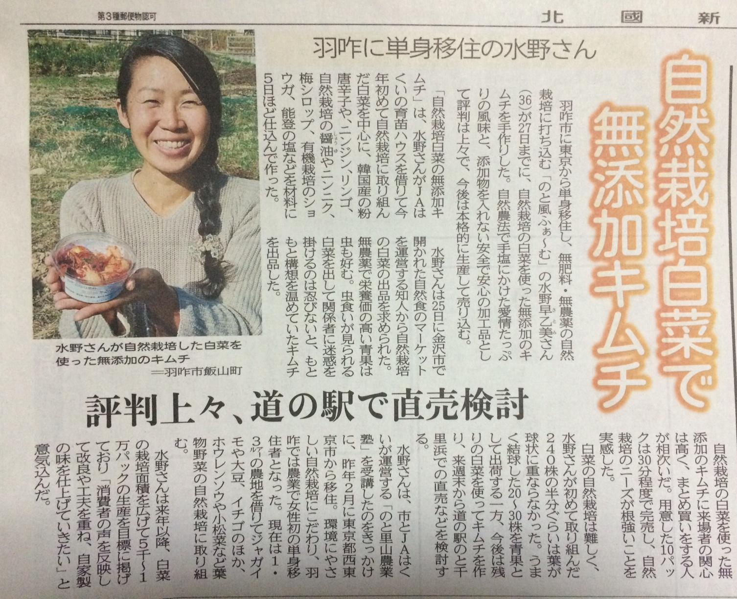 2018.11.28付『北國新聞』朝刊にて【自然栽培白菜の無添加キムチ】を掲載して頂きました。