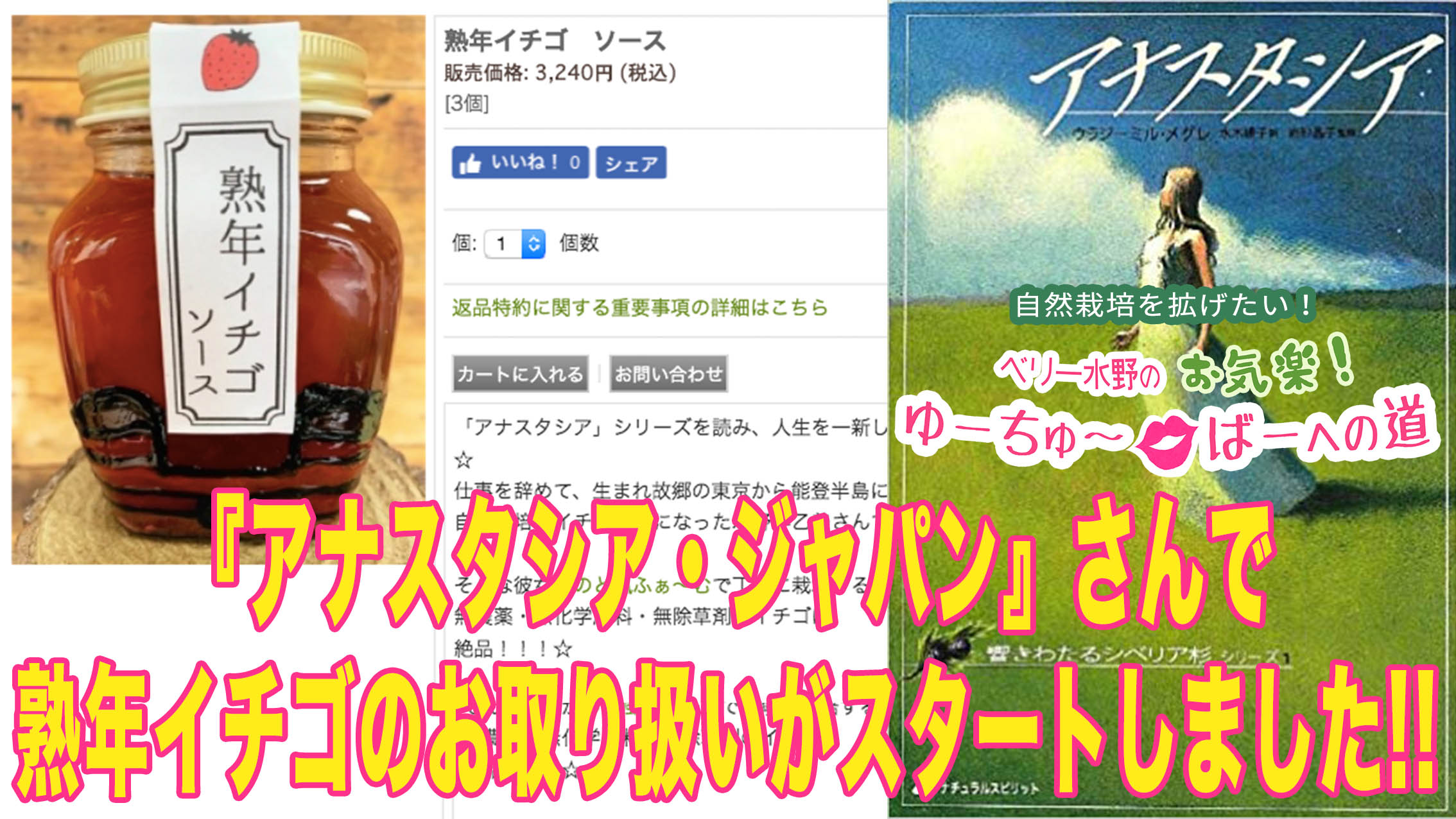 アナスタシア・ジャパン公式サイトにて熟年イチゴのお取り扱いがスタートしました!!